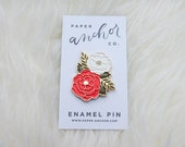 Irene Floral Enamel Pin   Cute Floral Cluster Lapel Pin   Plant Pin   Flower Pin   Enamel Lapel Pin   Brooch   FREE U.S. SHIPPING