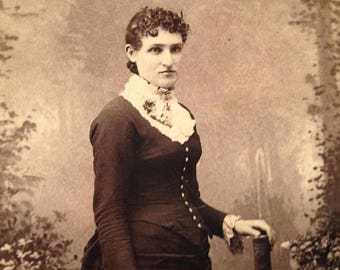 ON SALE 1800's Warrensburg Missouri MO Antique Cabinet Card Photograph Photo Portrait of a pretty young woman Old Vintage