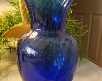 Vintage Swirl Blue Glass Vase
