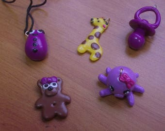 SET OF POLYMER CLAY PENDANTS