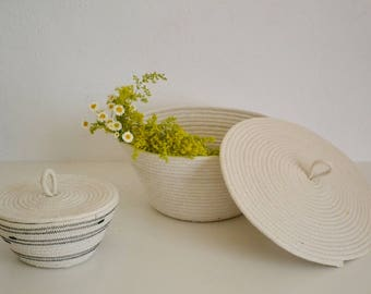 Meduim Rope bowl, Storage basket , Rope basket with lid, Lidded bowl, Lidded basket, Fruit bowl