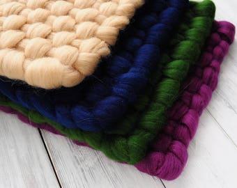 Set 3 Prop Mini Blankets, Newborn blanket, Wool blanket, Wicker blanket, Basket Stuffer, Photo prop,  hand-woven blanket