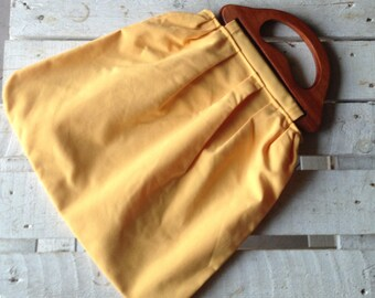 Yellow fabric bag lined handmade