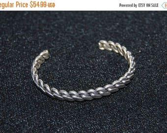 SALE Vintage Sterling Silver Cuff Bracelet Flat Rope Chain Twist 21 Grams