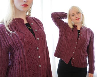 Vintage European folk style plum purple aubergine hand knit cardigan sweater silver buttons wool cable knit