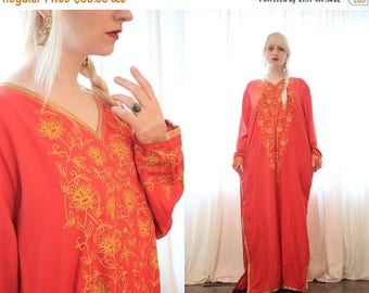 BIG SALE Red and gold embroidered Indian caftan dress Longsleeve side pockets bohemian goddess ethnic