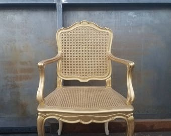 Gold Glam Vintage French Provincial cane chair. Gold french provincial chair / Cane chair/ French cane chair