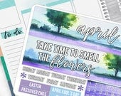 April Monthly Pages Sticker Set for ERIN CONDREN Planners - MS04