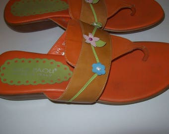 Shoes 9, Italian Thongs, Flip Flops ,Flats by Mila Paoli, Orange Flats, see details