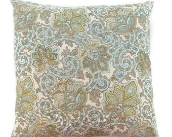 Baby blue, Sage Green, Yellow, Brown and Cream Paisley Invisible Zipper Pillow Cover