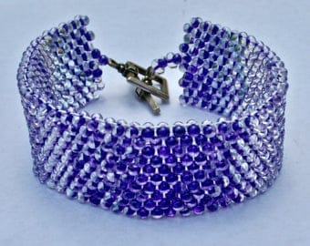 Purple Glass Bead Woven Cuff Bracelet With Silver Plated Toggle Clasp