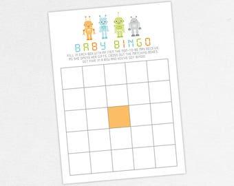 INSTANT DOWNLOAD Baby Bingo Card, Baby Shower Bingo, Baby Bingo PDF, Diy, Baby Shower Game, Robot Shower, Robot Bingo, Boy Shower, Baby Bot