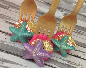 12 Gold Pink Purple Teal Sea Shell Cake Pops Bridal Baby Shower First Birthday Sweets Table Under Sea Beach Party Favor Dinglehopper