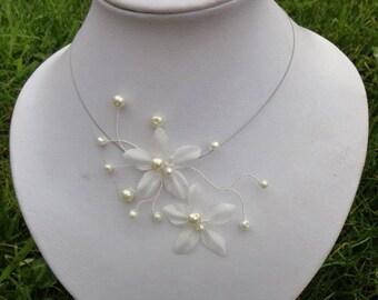 Necklace + earrings - bridal jewellery set - wedding silk flowers and glass beads - nickel free