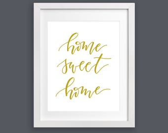 SALE Home Decor Print - Home Sweet Home Script - Mustard Yellow | Home Decor, Housewarming Gift, Christmas Gift, Hand Lettering