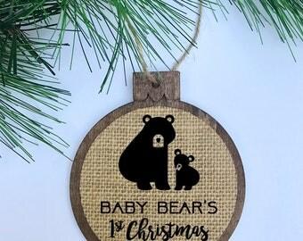 Baby Bear's 1st Christmas / Rustic / Christmas Ornament / Wood Burlap / Christmas Gift