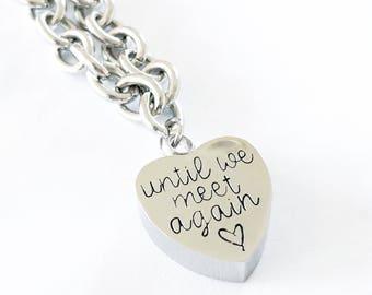 Urn bracelet - Hand stamped bracelet - Loss bracelet - Cremation jewelry - Memorial bracelet - Stainless steel heart - Cremation bracelet