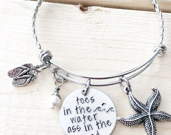Toes in the water - Ass in the sand - Hand stamped bracelet - Beachy jewelry - Summer jewelry - Gift for beach lover - Wave jewelry