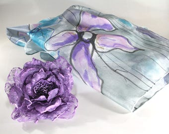 Women's scarves - Spring summer scarves - Hand painted silk scarves - Valentine's gift for her- Silk scarves - Luxury accessoires  - Flowers