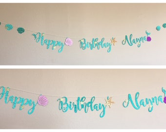 CUSTOMIZED Happy Birthday banner, Little Mermaid Ariel, Mermaid Letters, PERSONALIZED, Party Decor, starfish, Sea Shells