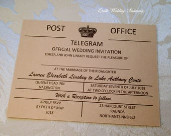Vintage Telegram Style Wedding Invitation Destination