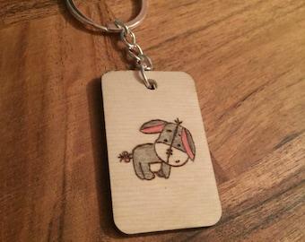 Wooden Eeyore quote keyring friend gift Inspirational