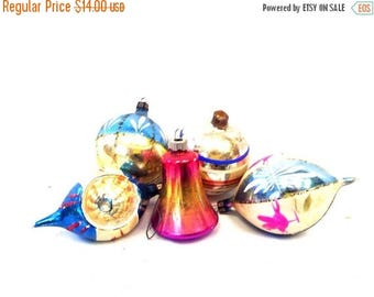 ON SALE 5 Vintage Glass Christmas Ornaments/Bell/Glass Balls/Ombre/Glitter