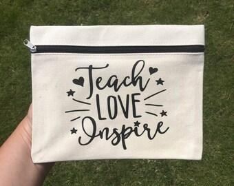 Teach Love Inspire | Pencil Case | Teachers Pencil Case | Teacher Gift | Teaching Assistant Gift | Thank you Teacher | Teacher Appreciation