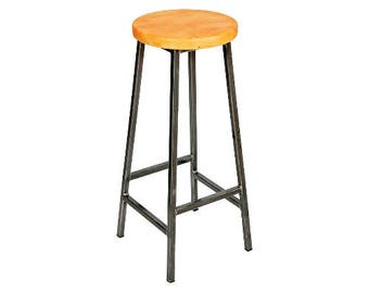 Bertie Yewitt - Steel Frame Industrial Bar Stool with Chunky Yew Seat