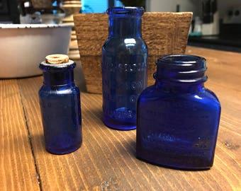 Vintage cobalt blue medicine bottles, bromo bottles, milnesia wafters bottles, vintage bottles, blue bottles, vase, set of 3