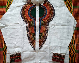White VOILE and DASHIKI Mens TOP available in Medium Large and Extra Large