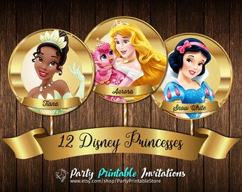 Disney Princess Cupcake Toppers, Printable Birthday Party Circle Disney's Cinderella, Snow White, Ariel, Sleeping Beauty, Bell. INSTANT!