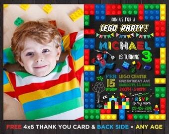 Lego Birthday Invitation With Picture Lego Birthday Invitations Download Lego Birthday Invitations For Boys  Lego Invitation printable Photo