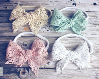 """Vintage Inspired Crochet Lace Bow Headband, Baby Headband, Hair Clips or Headband, Nylon Bow Headband, 4"""" Bows, Lace Bows, Toddler Girls Bow"""
