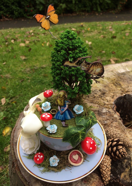 Alice in wonderland Vintage Tea Cup Scene Party Decor Wedding Decor ...