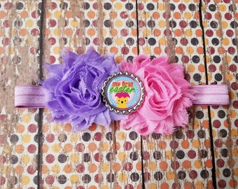 my first easter  double shabby headband,  newborn, baby,  infant,  toddler,