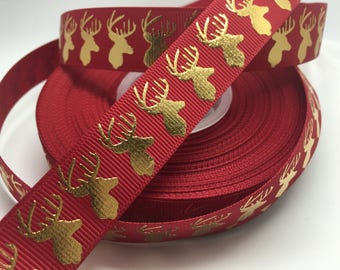 """7/8"""" Gold Foil Christmas Deer on red grosgrain sold by the yard"""