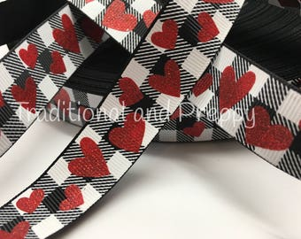 "7/8"" Glitter Red Valentine Heart on black and white Buffalo plaid sold by the yard"