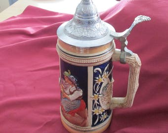 Vintage Large German Lidded Beer Stein