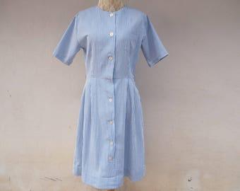 1990s vintage blue and white striped /  midi dress/ short sleeves dress/ fukuda hakui uniform dress