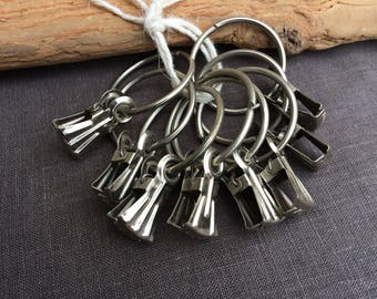 Curtain rod rings, old soviet vintage drapery clips, set of 12 metal curtain pegs