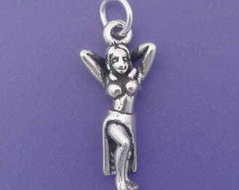 BELLY Dancer Charm, Dance, Exotic Dancer .925 Sterling Silver Charm - lp4639