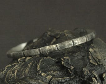 Silver Bangle Bracelet--Branch Bracelet--Twig Bangle--Bamboo Bracelet--Sterling Silver Bracelet--Layering Bracelet--Stacking Bangle