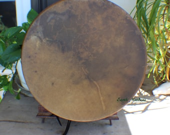"""16"""" American Buffalo Hide Hand Drum Native American Made William Lattie Cherokee comes w/ Certificate of Authenticity FREE US SHIPPING"""