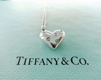 Authentic Tiffany & Co. Etoile Sterling Silver Five 5 Diamond Heart Pendant Necklace