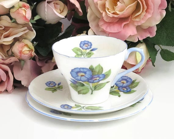 Shelley Morning Glory cup, saucer, and plate, hand painted blue flowers with blue trim on edges of each piece, England, 13885, 1945 - 1966