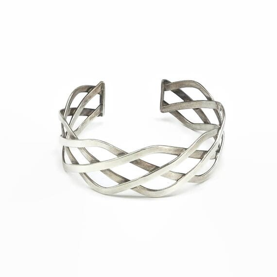 Sterling silver braid or infinity bracelet, open at back, 1 inch / 2.5 cm wide, stamped 925, 26 grams