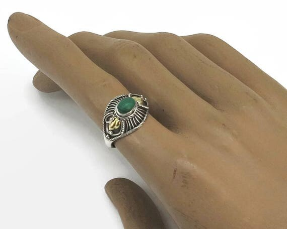 Sterling silver and green malachite ring with gilded leaves and other details, domed front, ethnic, Boho, stamped 925, size 7.5 / O.5,