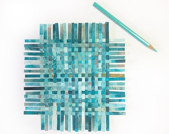 Turquoise Paper Weaving- Abstract Art- Woven Hand Painted Papers- 8.5x8- Acrylic and Watercolor