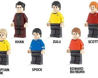 Lote de 6 Figuras Lego Star Trek (Khan, Zulu, Scotty, Captain Kirk, Spock, Edward Rayburn) customized